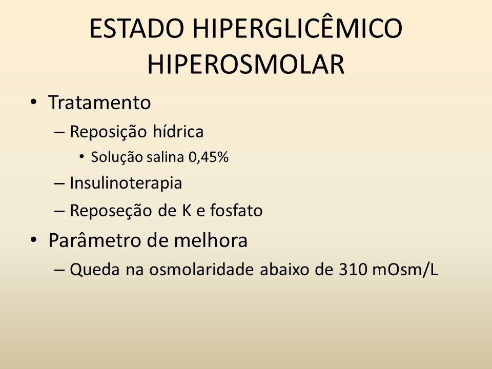 ESTADO HIPERGLICÊMICO HIPEROSMOLAR Tratamento – Reposição hídrica Solução salina 0,45% – Insulinoterapia – Reposeção de K e fosfato Parâmetro de melhora – Queda na osmolaridade abaixo de 310 mOsm/L