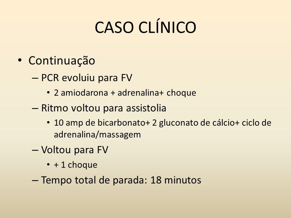 CASO CLÍNICO Continuação – PCR evoluiu para FV 2 amiodarona + adrenalina+ choque – Ritmo voltou para assistolia 10 amp de bicarbonato+ 2 gluconato de cálcio+ ciclo de adrenalina/massagem – Voltou para FV + 1 choque – Tempo total de parada: 18 minutos