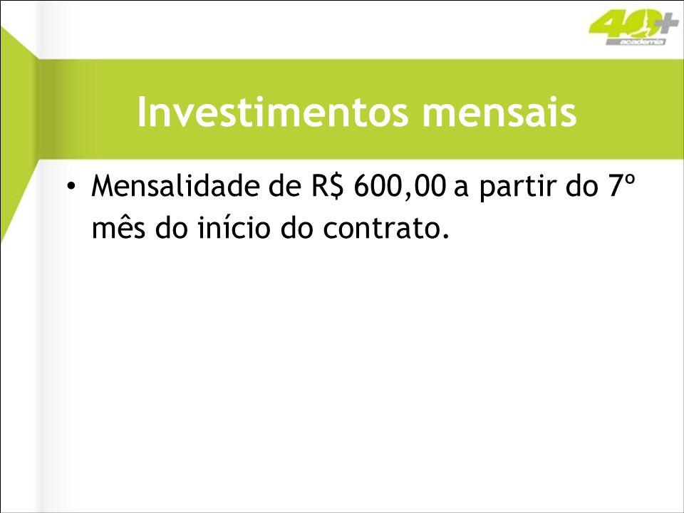 Investimentos mensais Mensalidade de R$ 600,00 a partir do 7º mês do início do contrato.
