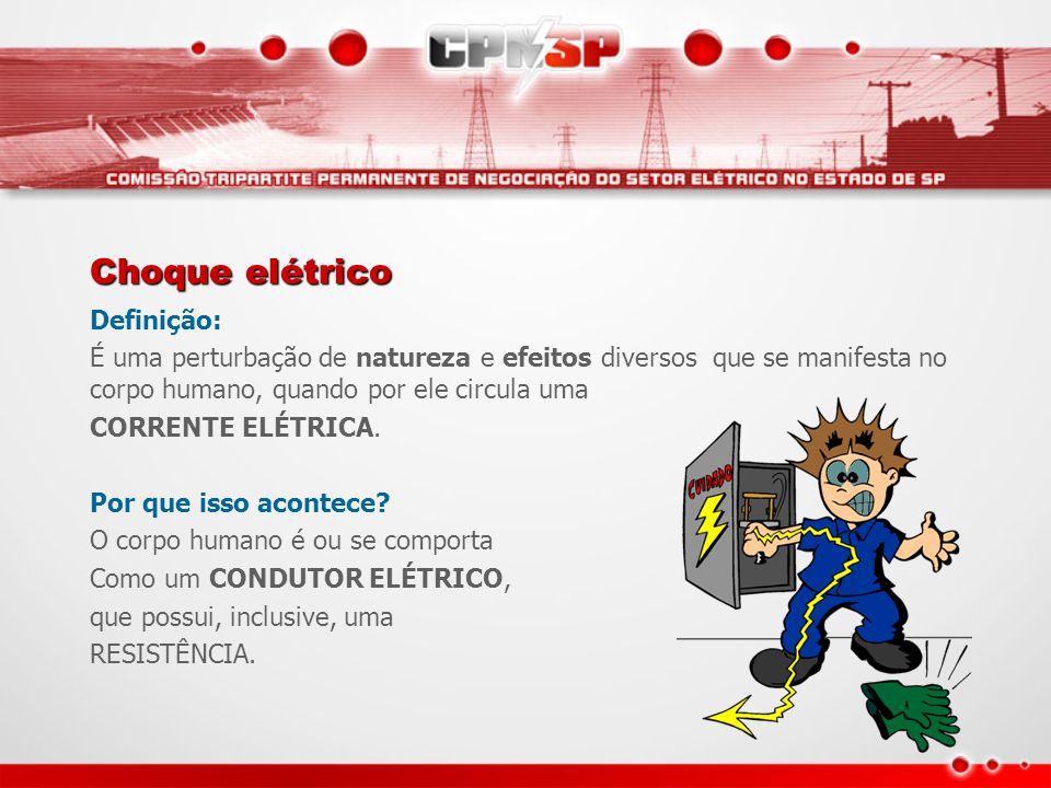 Choque elétrico Definição: É uma perturbação de natureza e efeitos diversos que se manifesta no corpo humano, quando por ele circula uma CORRENTE ELÉT