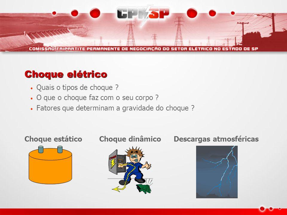 Choque elétrico Quais o tipos de choque ? O que o choque faz com o seu corpo ? Fatores que determinam a gravidade do choque ? Choque estático Choque d