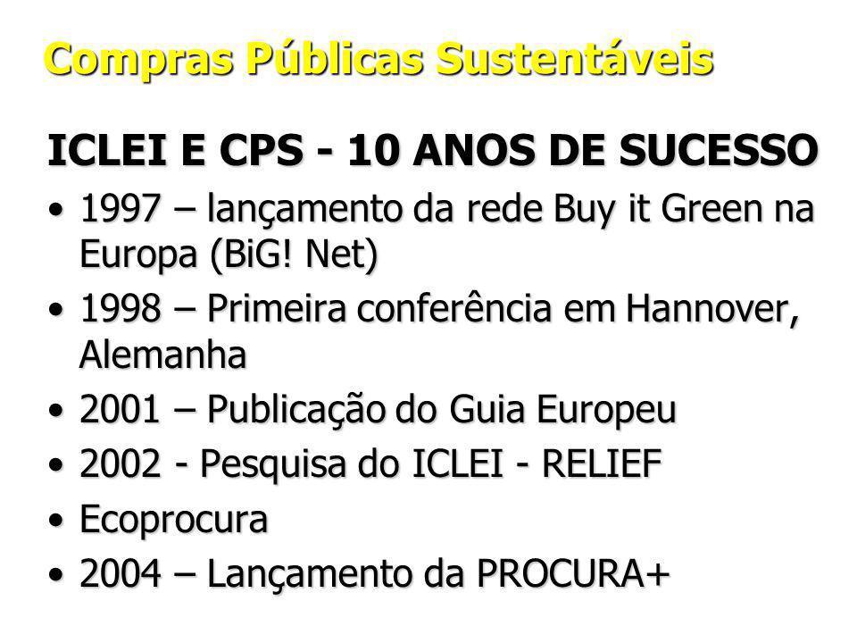 Compras Públicas Sustentáveis ICLEI E CPS - 10 ANOS DE SUCESSO 1997 – lançamento da rede Buy it Green na Europa (BiG.
