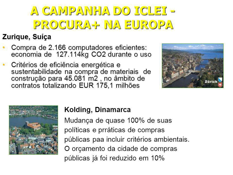 A CAMPANHA DO ICLEI - PROCURA+ NA EUROPA Zurique, Suíça Compra de 2.166 computadores eficientes: economia de 127.114kg CO2 durante o usoCompra de 2.166 computadores eficientes: economia de 127.114kg CO2 durante o uso Critérios de eficiência energética e sustentabilidade na compra de materiais de construção para 45.081 m2, no âmbito de contratos totalizando EUR 175,1 milhõesCritérios de eficiência energética e sustentabilidade na compra de materiais de construção para 45.081 m2, no âmbito de contratos totalizando EUR 175,1 milhões Kolding, Dinamarca Mudança de quase 100% de suas políticas e prráticas de compras públicas paa incluir critérios ambientais.