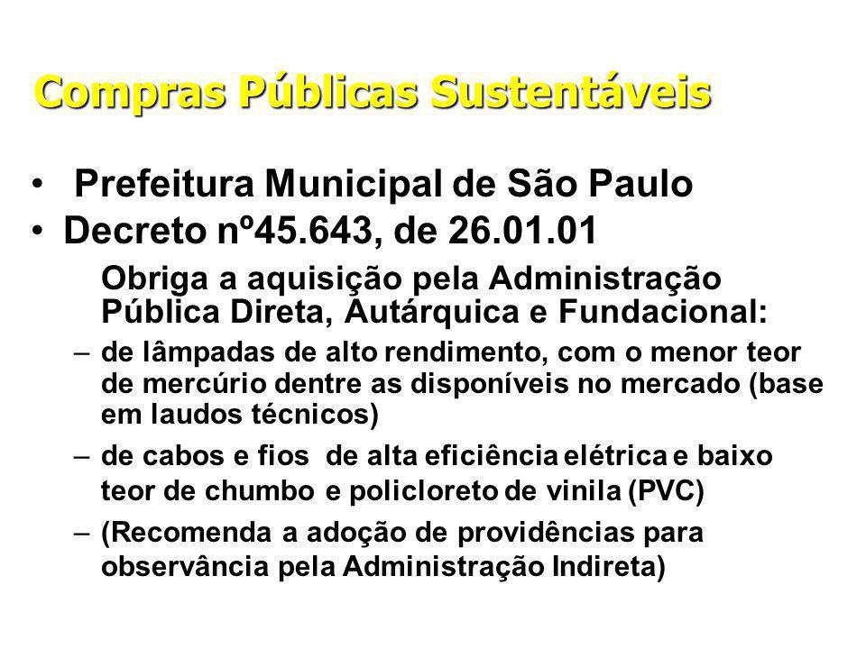 Compras Públicas Sustentáveis Prefeitura Municipal de São Paulo Decreto nº45.643, de 26.01.01 Obriga a aquisição pela Administração Pública Direta, Autárquica e Fundacional: –de lâmpadas de alto rendimento, com o menor teor de mercúrio dentre as disponíveis no mercado (base em laudos técnicos) –de cabos e fios de alta eficiência elétrica e baixo teor de chumbo e policloreto de vinila (PVC) –(Recomenda a adoção de providências para observância pela Administração Indireta)