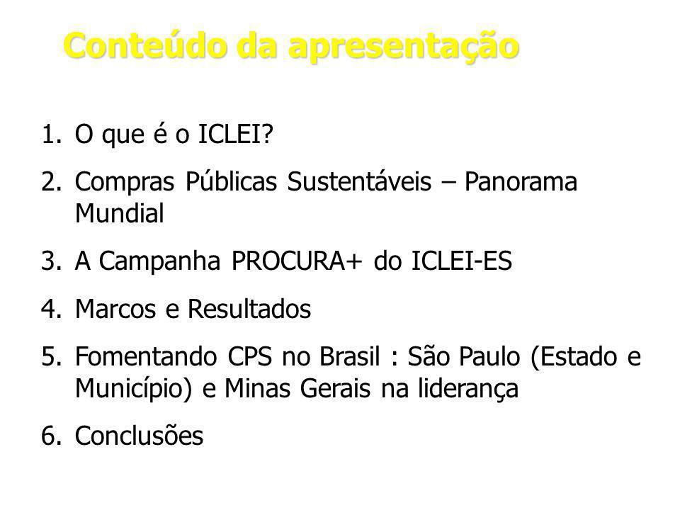 Conteúdo da apresentação 1.O que é o ICLEI.