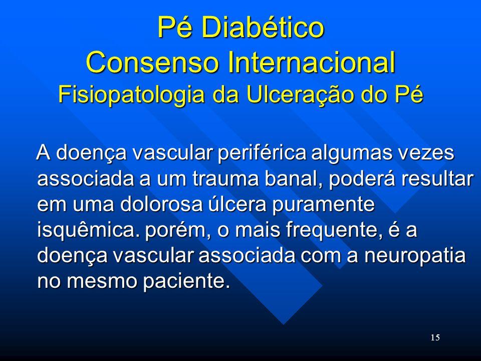 15 Pé Diabético Consenso Internacional Fisiopatologia da Ulceração do Pé A doença vascular periférica algumas vezes associada a um trauma banal, poderá resultar em uma dolorosa úlcera puramente isquêmica.
