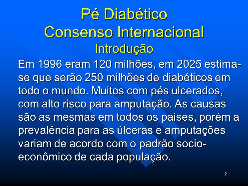 23 Pé Diabético Consenso Internacional Infecção Infecção em pé diabético é uma ameaça ao membro e deve ser tratada empirica e agressivamente.