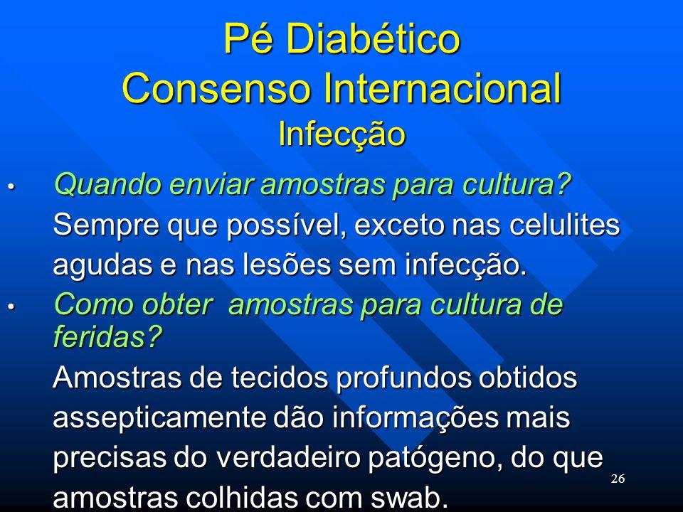 26 Pé Diabético Consenso Internacional Infecção Quando enviar amostras para cultura.