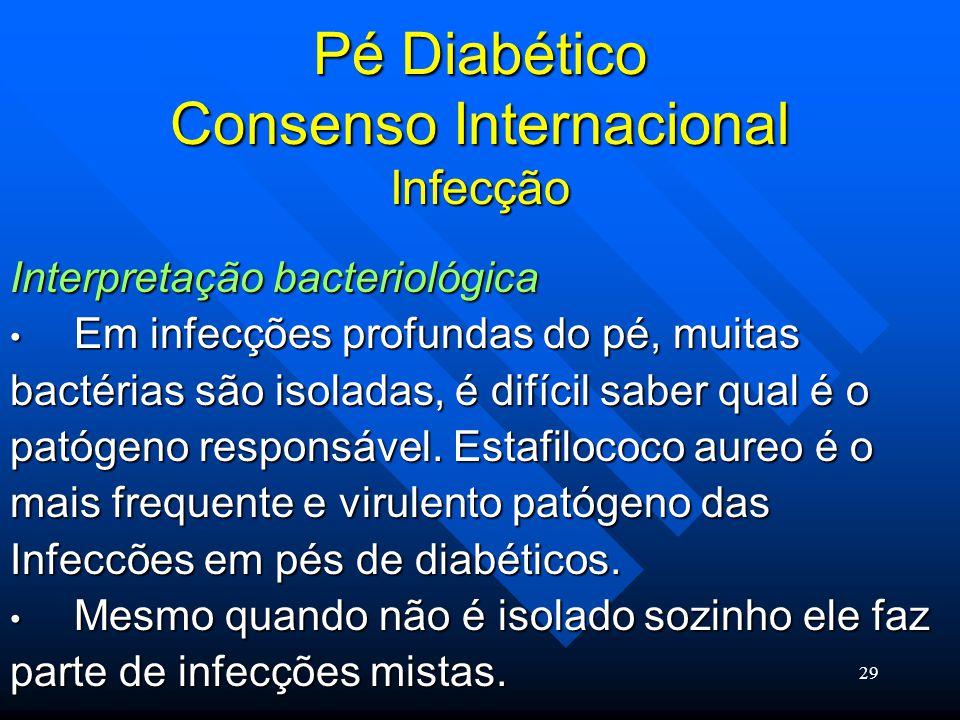 29 Pé Diabético Consenso Internacional Infecção Interpretação bacteriológica Em infecções profundas do pé, muitas Em infecções profundas do pé, muitas bactérias são isoladas, é difícil saber qual é o patógeno responsável.