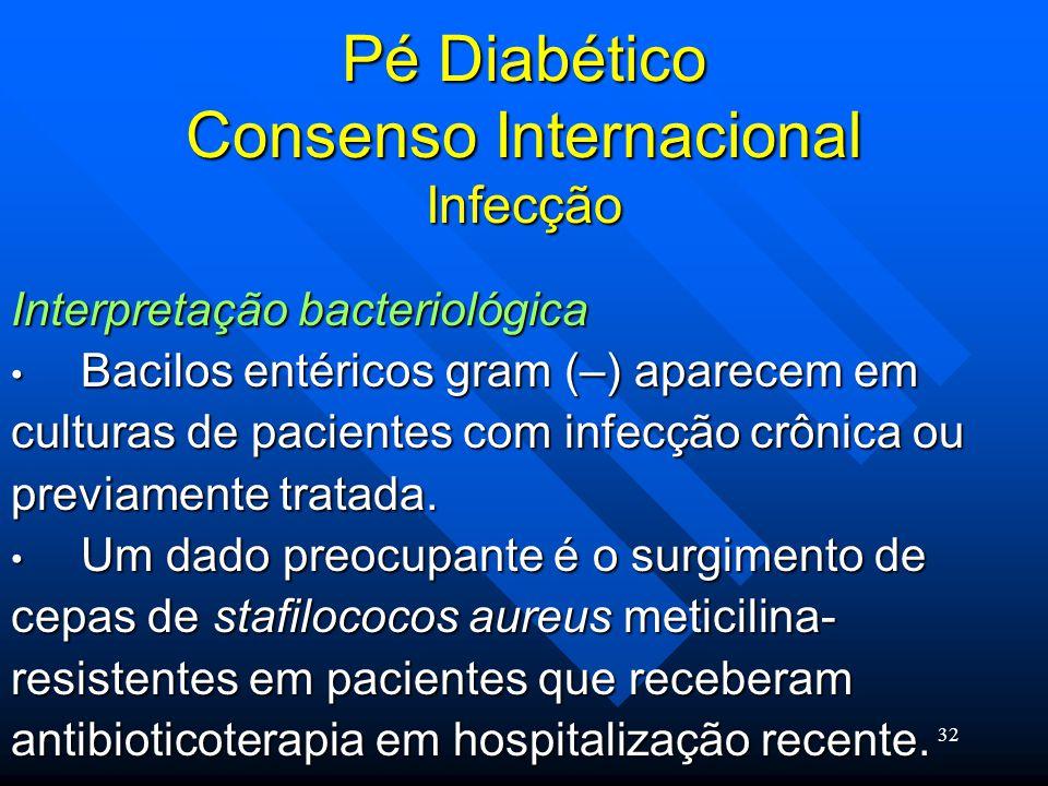 32 Pé Diabético Consenso Internacional Infecção Interpretação bacteriológica Bacilos entéricos gram (–) aparecem em Bacilos entéricos gram (–) aparecem em culturas de pacientes com infecção crônica ou previamente tratada.