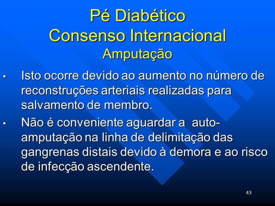 43 Pé Diabético Consenso Internacional Amputação Isto ocorre devido ao aumento no número de reconstruções arteriais realizadas para salvamento de membro.