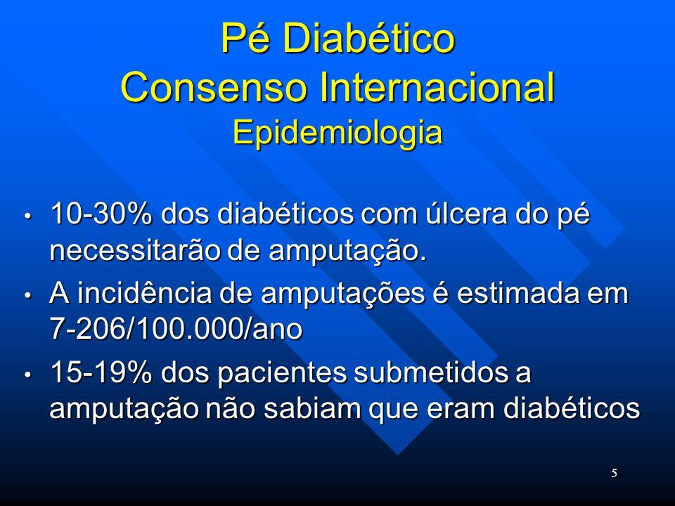 6 Pé Diabético Consenso Internacional Epidemiologia a neuropatia é o mais importante fator de risco no desenvolvimento da úlcera do pé.