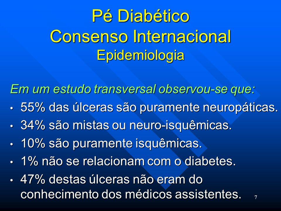 8 Pé Diabético Consenso Internacional Epidemiologia A prevalência de doença vascular periférica em diabéticos, definida como sinais e sintomas incluindo índice tornozelo-braço abaixo de 0.8-0.9 foi estimado em 10-20% em diferentes estudos.