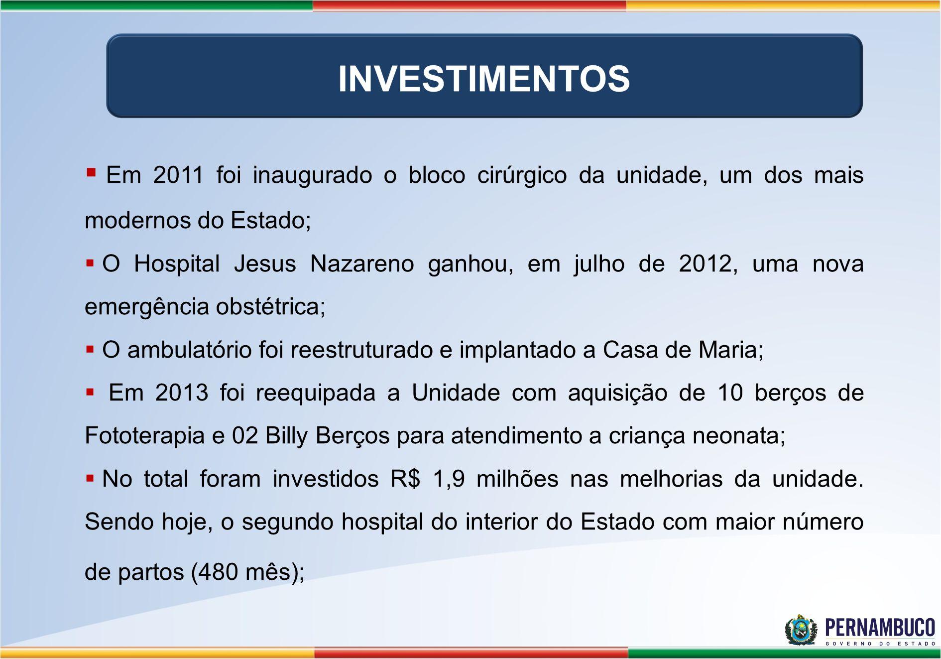 Em 2011 foi inaugurado o bloco cirúrgico da unidade, um dos mais modernos do Estado; O Hospital Jesus Nazareno ganhou, em julho de 2012, uma nova emergência obstétrica; O ambulatório foi reestruturado e implantado a Casa de Maria; Em 2013 foi reequipada a Unidade com aquisição de 10 berços de Fototerapia e 02 Billy Berços para atendimento a criança neonata; No total foram investidos R$ 1,9 milhões nas melhorias da unidade.