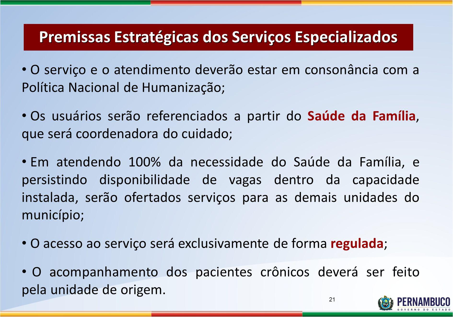 Premissas Estratégicas dos Serviços Especializados O serviço e o atendimento deverão estar em consonância com a Política Nacional de Humanização; Os u