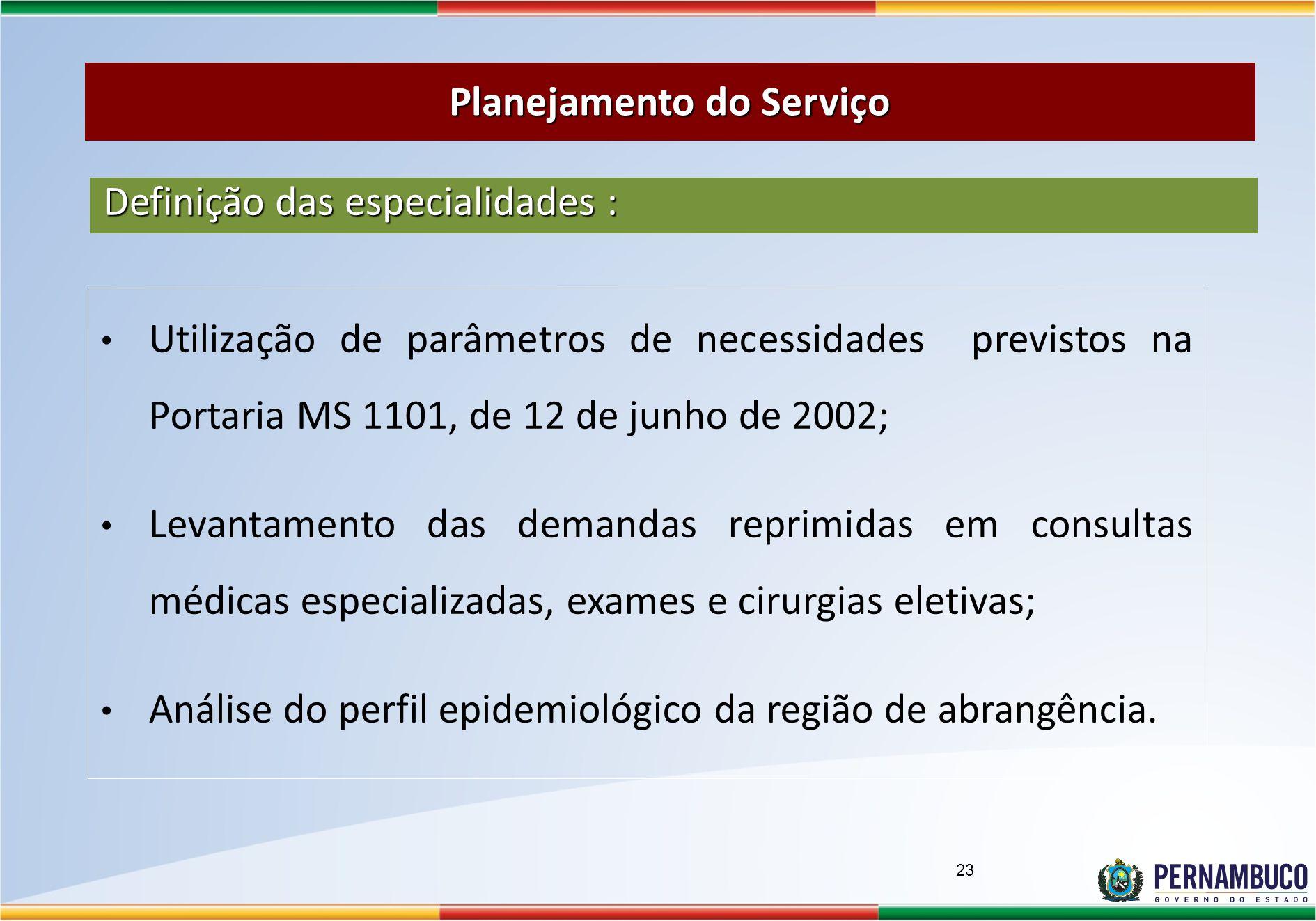 Utilização de parâmetros de necessidades previstos na Portaria MS 1101, de 12 de junho de 2002; Levantamento das demandas reprimidas em consultas médicas especializadas, exames e cirurgias eletivas; Análise do perfil epidemiológico da região de abrangência.