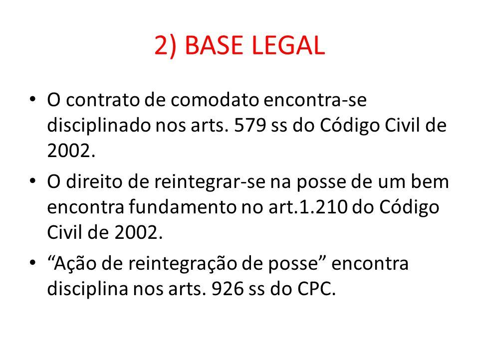 2) BASE LEGAL O contrato de comodato encontra-se disciplinado nos arts. 579 ss do Código Civil de 2002. O direito de reintegrar-se na posse de um bem