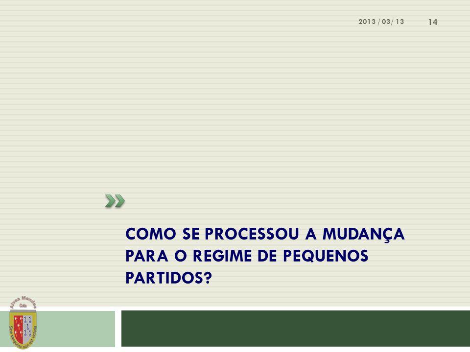 COMO SE PROCESSOU A MUDANÇA PARA O REGIME DE PEQUENOS PARTIDOS? 2013 / 03/ 13 14