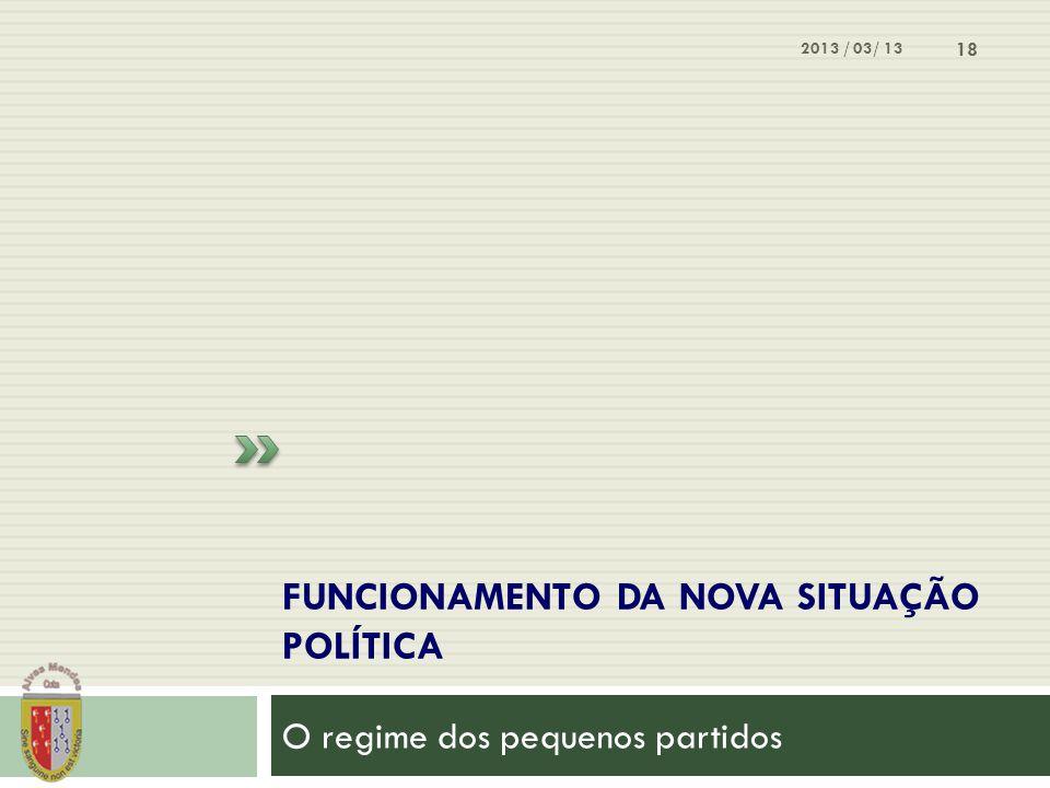 FUNCIONAMENTO DA NOVA SITUAÇÃO POLÍTICA O regime dos pequenos partidos 2013 / 03/ 13 18