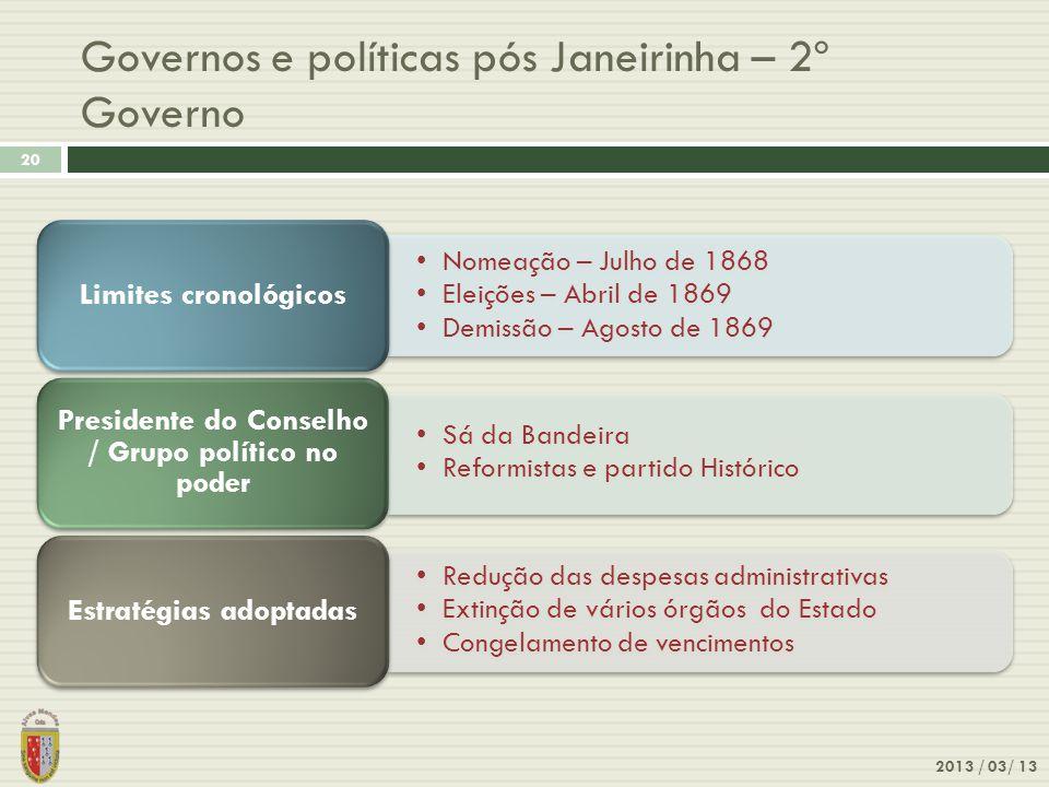2013 / 03/ 13 20 Governos e políticas pós Janeirinha – 2º Governo Nomeação – Julho de 1868 Eleições – Abril de 1869 Demissão – Agosto de 1869 Limites