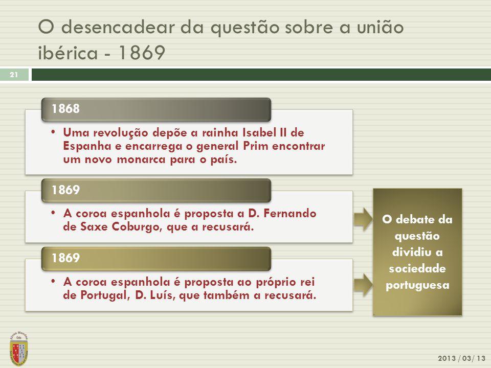 O desencadear da questão sobre a união ibérica - 1869 2013 / 03/ 13 21 Uma revolução depõe a rainha Isabel II de Espanha e encarrega o general Prim en