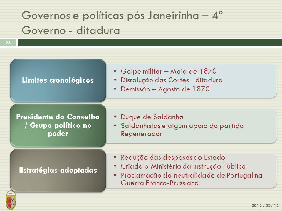 2013 / 03/ 13 23 Governos e políticas pós Janeirinha – 4º Governo - ditadura Golpe militar – Maio de 1870 Dissolução das Cortes - ditadura Demissão –
