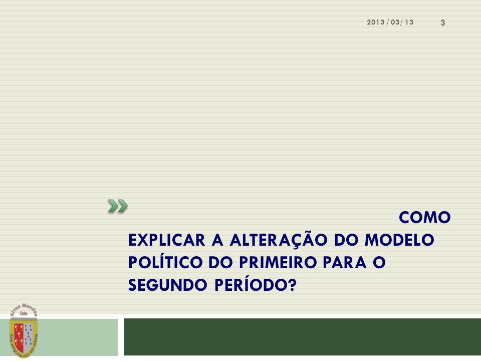 COMO EXPLICAR A ALTERAÇÃO DO MODELO POLÍTICO DO PRIMEIRO PARA O SEGUNDO PERÍODO? 2013 / 03/ 13 3
