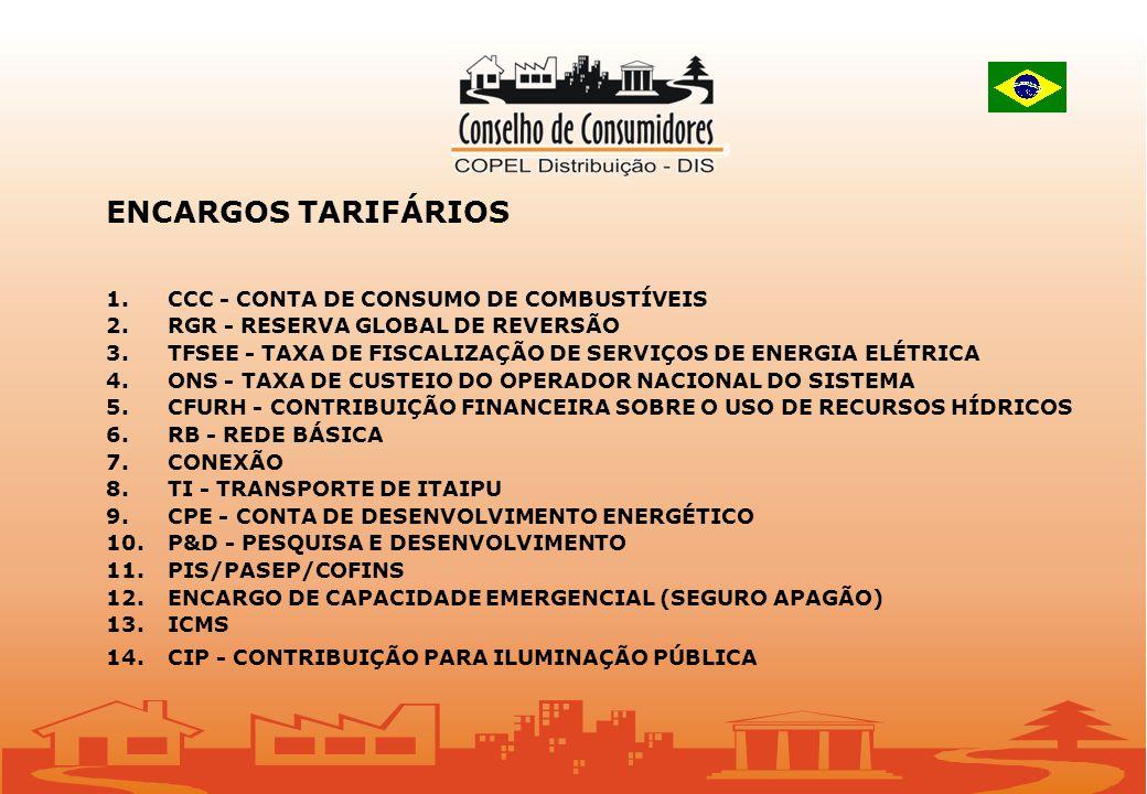 ENCARGOS TARIFÁRIOS 1. CCC - CONTA DE CONSUMO DE COMBUSTÍVEIS 2. RGR - RESERVA GLOBAL DE REVERSÃO 3. TFSEE - TAXA DE FISCALIZAÇÃO DE SERVIÇOS DE ENERG