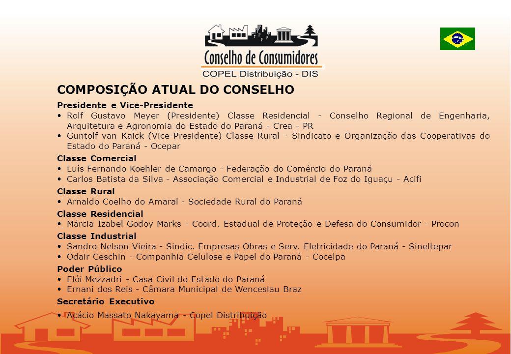 COMPOSIÇÃO ATUAL DO CONSELHO Presidente e Vice-Presidente Rolf Gustavo Meyer (Presidente) Classe Residencial - Conselho Regional de Engenharia, Arquit