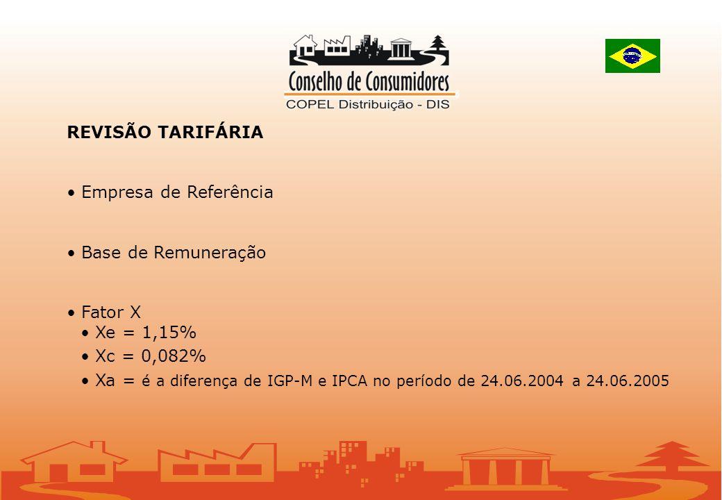 REVISÃO TARIFÁRIA Empresa de Referência Base de Remuneração Fator X Xe = 1,15% Xc = 0,082% Xa = é a diferença de IGP-M e IPCA no período de 24.06.2004 a 24.06.2005