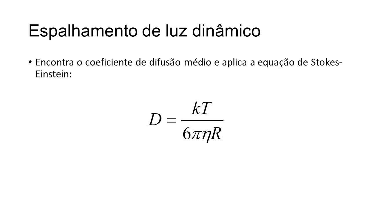 Espalhamento de luz dinâmico Encontra o coeficiente de difusão médio e aplica a equação de Stokes- Einstein: