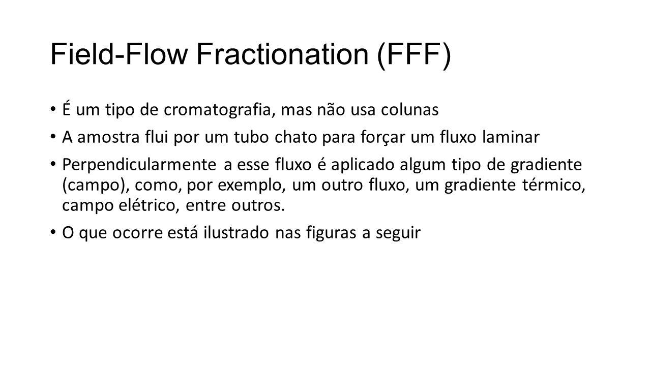 Field-Flow Fractionation (FFF) É um tipo de cromatografia, mas não usa colunas A amostra flui por um tubo chato para forçar um fluxo laminar Perpendicularmente a esse fluxo é aplicado algum tipo de gradiente (campo), como, por exemplo, um outro fluxo, um gradiente térmico, campo elétrico, entre outros.