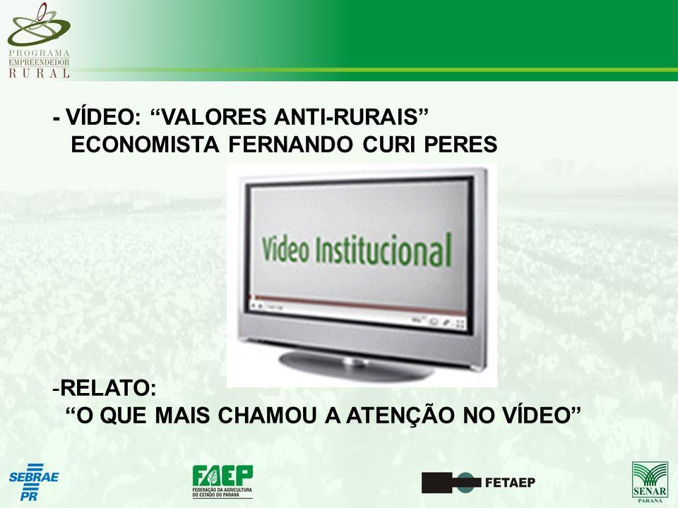 - VÍDEO: VALORES ANTI-RURAIS ECONOMISTA FERNANDO CURI PERES -RELATO: O QUE MAIS CHAMOU A ATENÇÃO NO VÍDEO