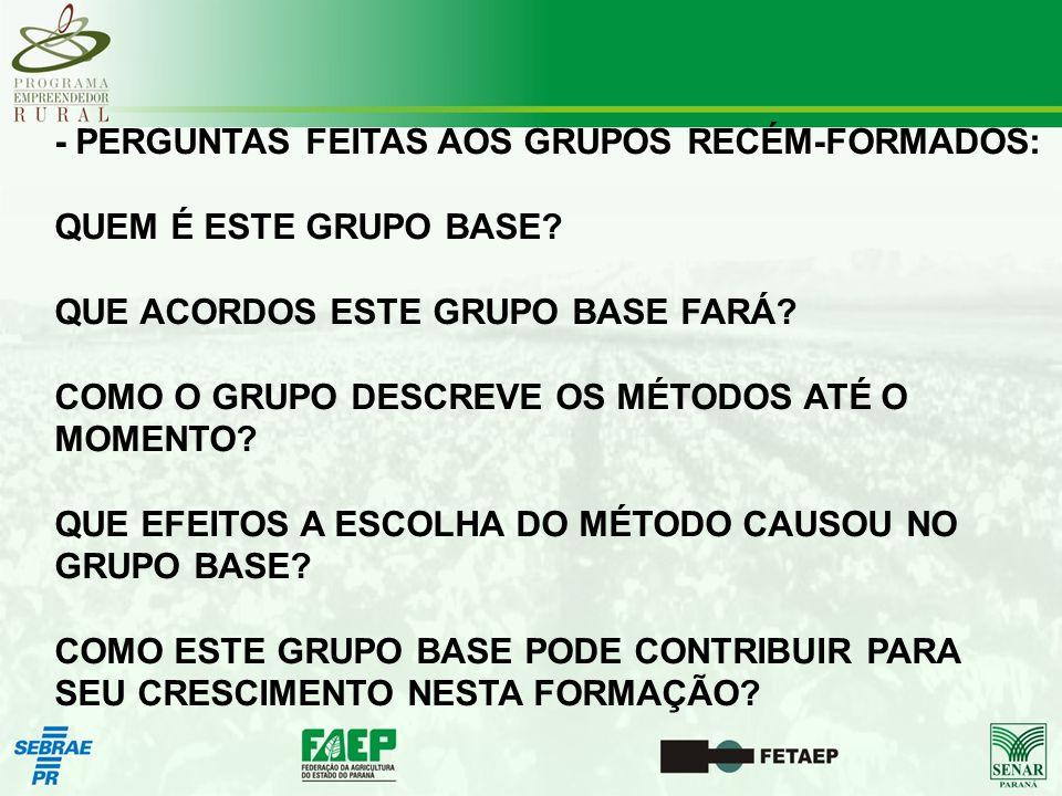 - PERGUNTAS FEITAS AOS GRUPOS RECÉM-FORMADOS: QUEM É ESTE GRUPO BASE.