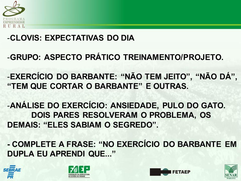 -CLOVIS: EXPECTATIVAS DO DIA -GRUPO: ASPECTO PRÁTICO TREINAMENTO/PROJETO.