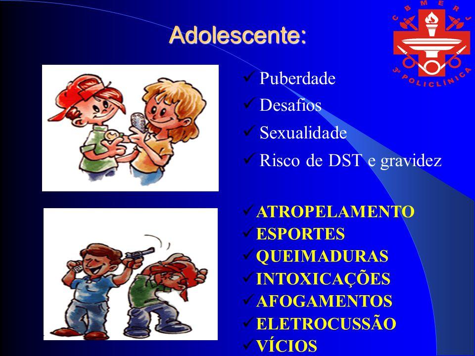 Adolescente: Puberdade Desafios Sexualidade Risco de DST e gravidez ATROPELAMENTO ESPORTES QUEIMADURAS INTOXICAÇÕES AFOGAMENTOS ELETROCUSSÃO VÍCIOS