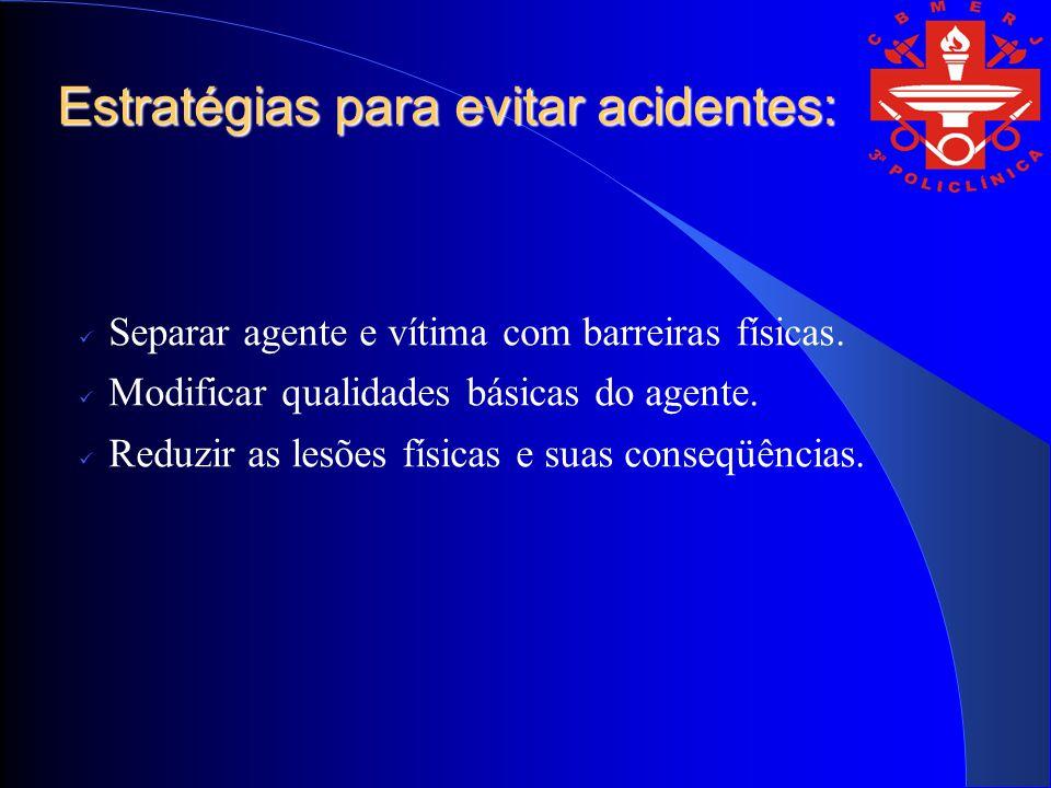 Estratégias para evitar acidentes: Separar agente e vítima com barreiras físicas. Modificar qualidades básicas do agente. Reduzir as lesões físicas e