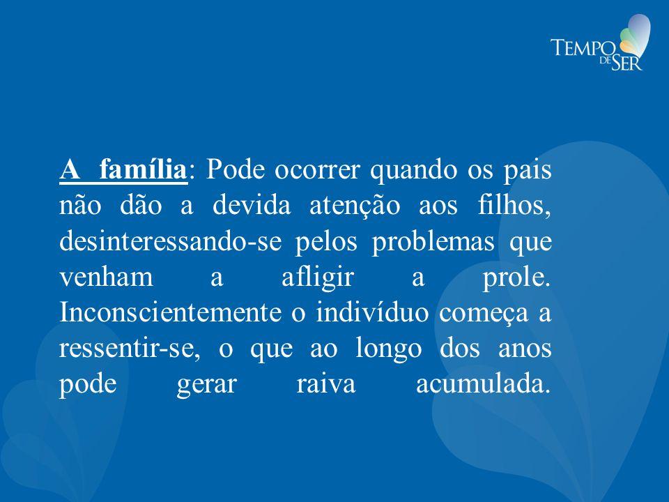 A família: Pode ocorrer quando os pais não dão a devida atenção aos filhos, desinteressando-se pelos problemas que venham a afligir a prole. Inconscie