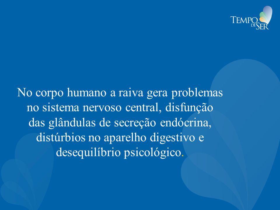 No corpo humano a raiva gera problemas no sistema nervoso central, disfunção das glândulas de secreção endócrina, distúrbios no aparelho digestivo e d