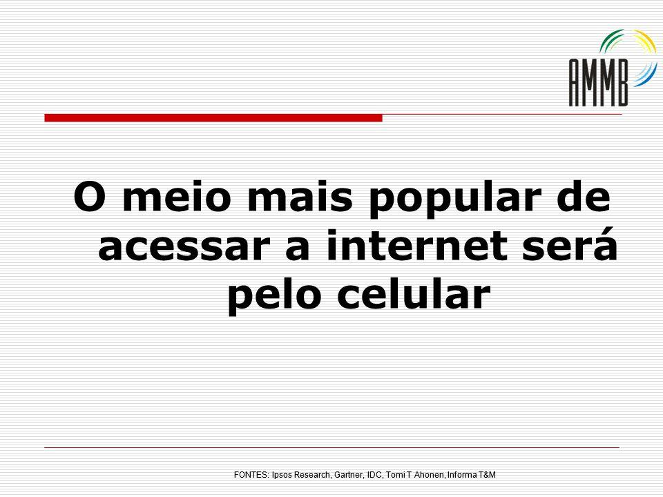 O meio mais popular de acessar a internet será pelo celular FONTES: Ipsos Research, Gartner, IDC, Tomi T Ahonen, Informa T&M