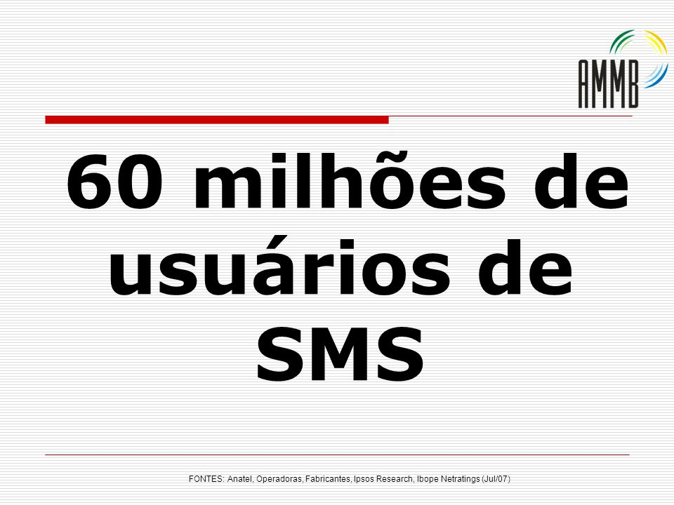 FONTES: Anatel, Operadoras, Fabricantes, Ipsos Research, Ibope Netratings (Jul/07) 60 milhões de usuários de SMS