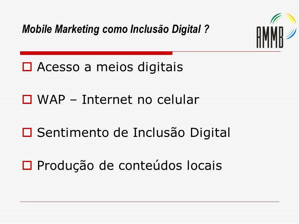 Mobile Marketing como Inclusão Digital ? Acesso a meios digitais WAP – Internet no celular Sentimento de Inclusão Digital Produção de conteúdos locais