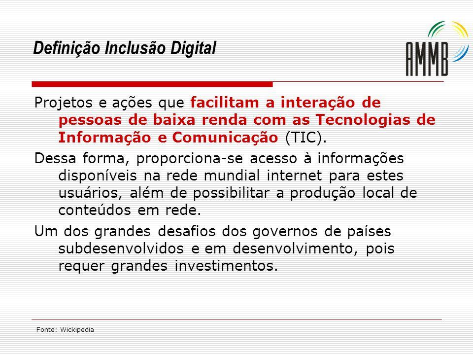 Definição Inclusão Digital Projetos e ações que facilitam a interação de pessoas de baixa renda com as Tecnologias de Informação e Comunicação (TIC).