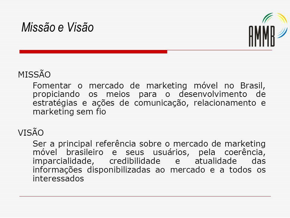 Missão e Visão MISSÃO Fomentar o mercado de marketing móvel no Brasil, propiciando os meios para o desenvolvimento de estratégias e ações de comunicaç