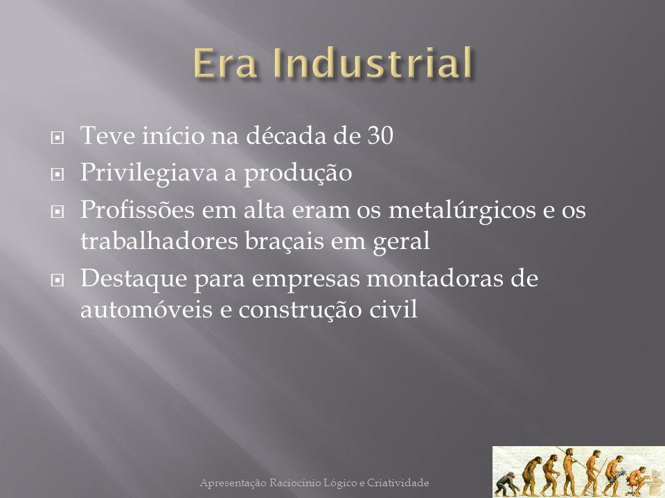 Teve início na década de 30 Privilegiava a produção Profissões em alta eram os metalúrgicos e os trabalhadores braçais em geral Destaque para empresas