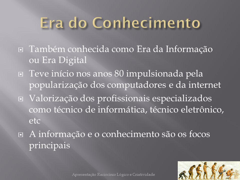 Também conhecida como Era da Informação ou Era Digital Teve início nos anos 80 impulsionada pela popularização dos computadores e da internet Valoriza