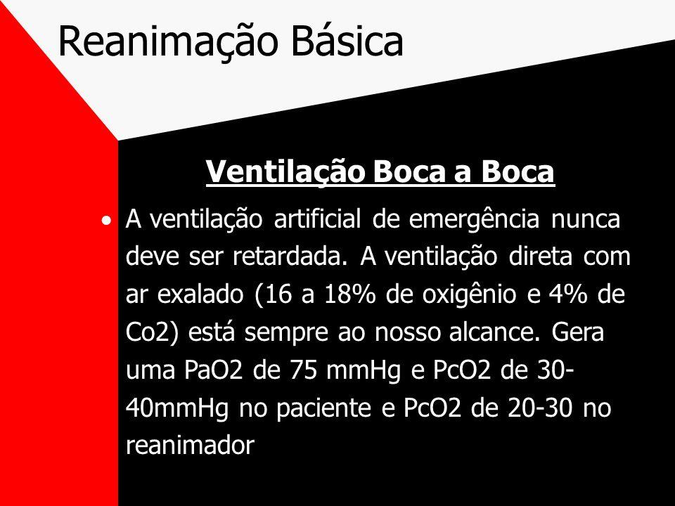 Reanimação Básica Ventilação Boca a Boca A ventilação artificial de emergência nunca deve ser retardada.