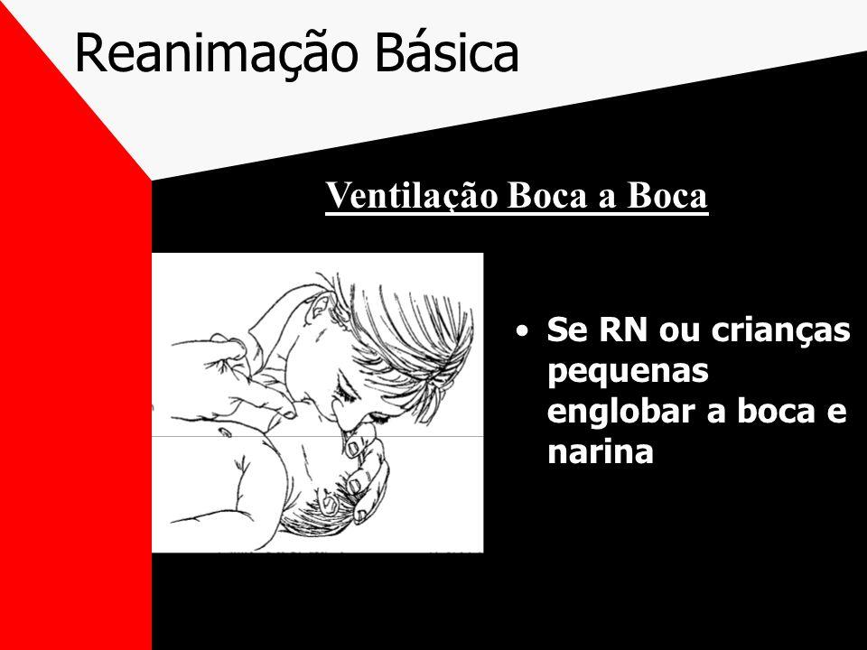 Reanimação Básica Se RN ou crianças pequenas englobar a boca e narina Ventilação Boca a Boca