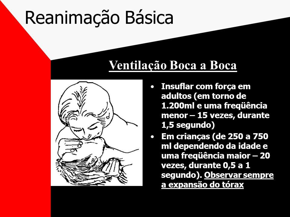 Reanimação Básica Insuflar com força em adultos (em torno de 1.200ml e uma freqüência menor – 15 vezes, durante 1,5 segundo) Em crianças (de 250 a 750 ml dependendo da idade e uma freqüência maior – 20 vezes, durante 0,5 a 1 segundo).