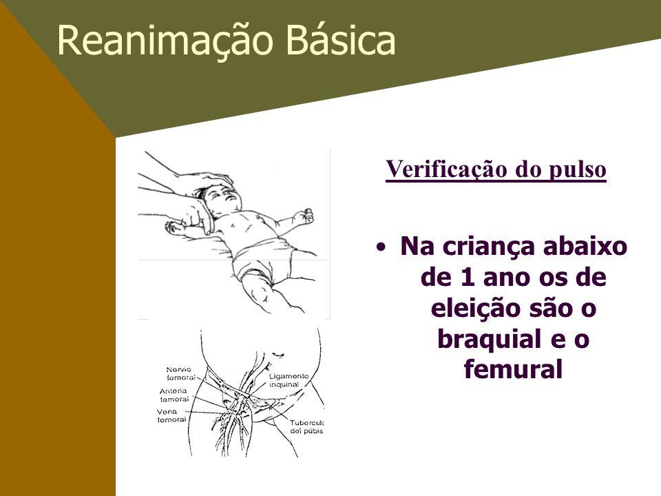 Reanimação Básica Na criança abaixo de 1 ano os de eleição são o braquial e o femural Verificação do pulso